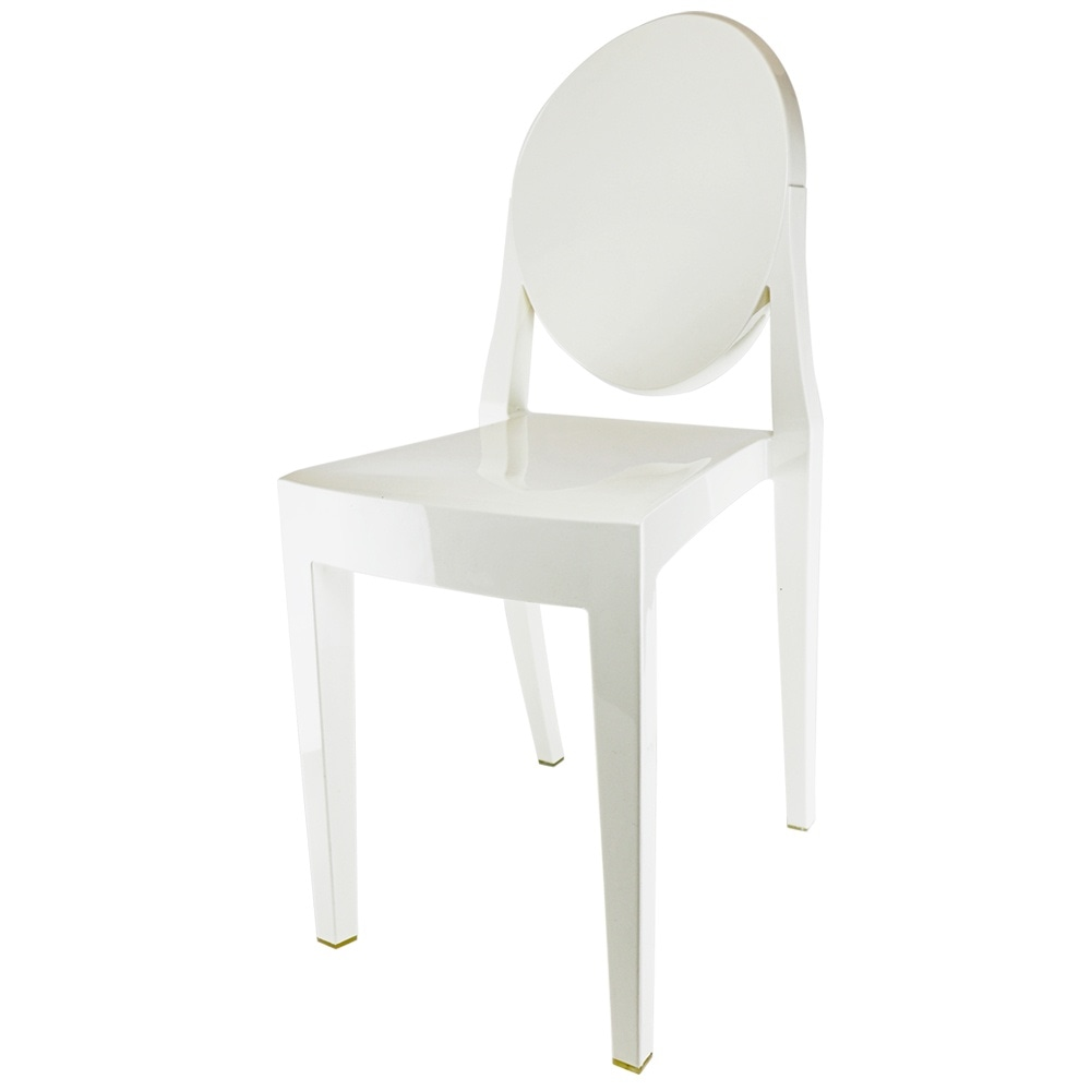 Ivory White Ghost Style Plastic Victoria Dining Chair