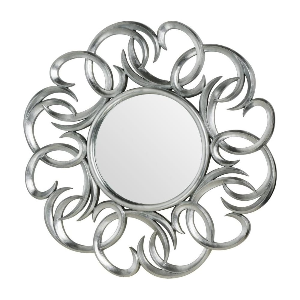 Large Round Silver Mirror Part - 39: Large Circular Silver Swirl Wall Mirror
