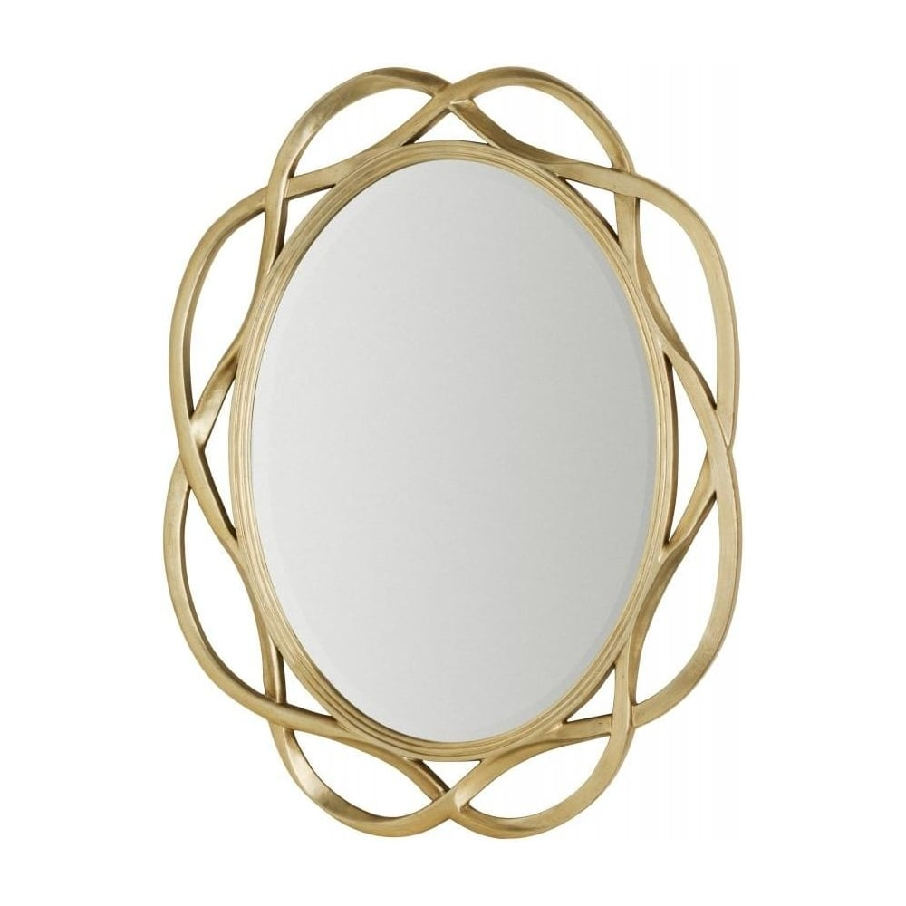 Buy large gold oval wall mirror with twist frame from fusion living large gold oval wall mirror with twist frame amipublicfo Choice Image