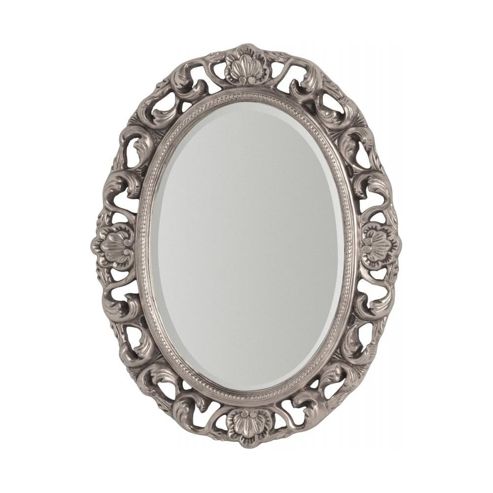 Buy Large Oval Silver Ornate Wall Mirror From Fusion Living
