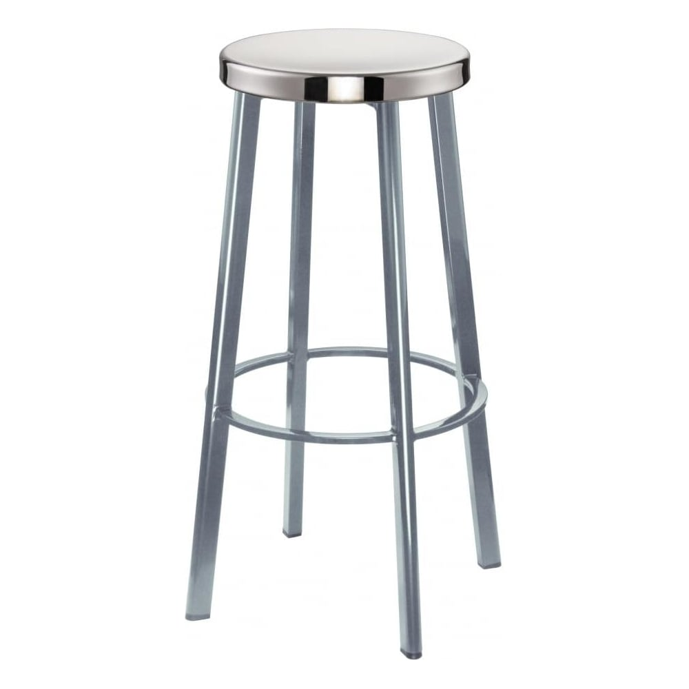 Buy Light Grey Contemporary Metal Bar Stool with Circular Steel Seat