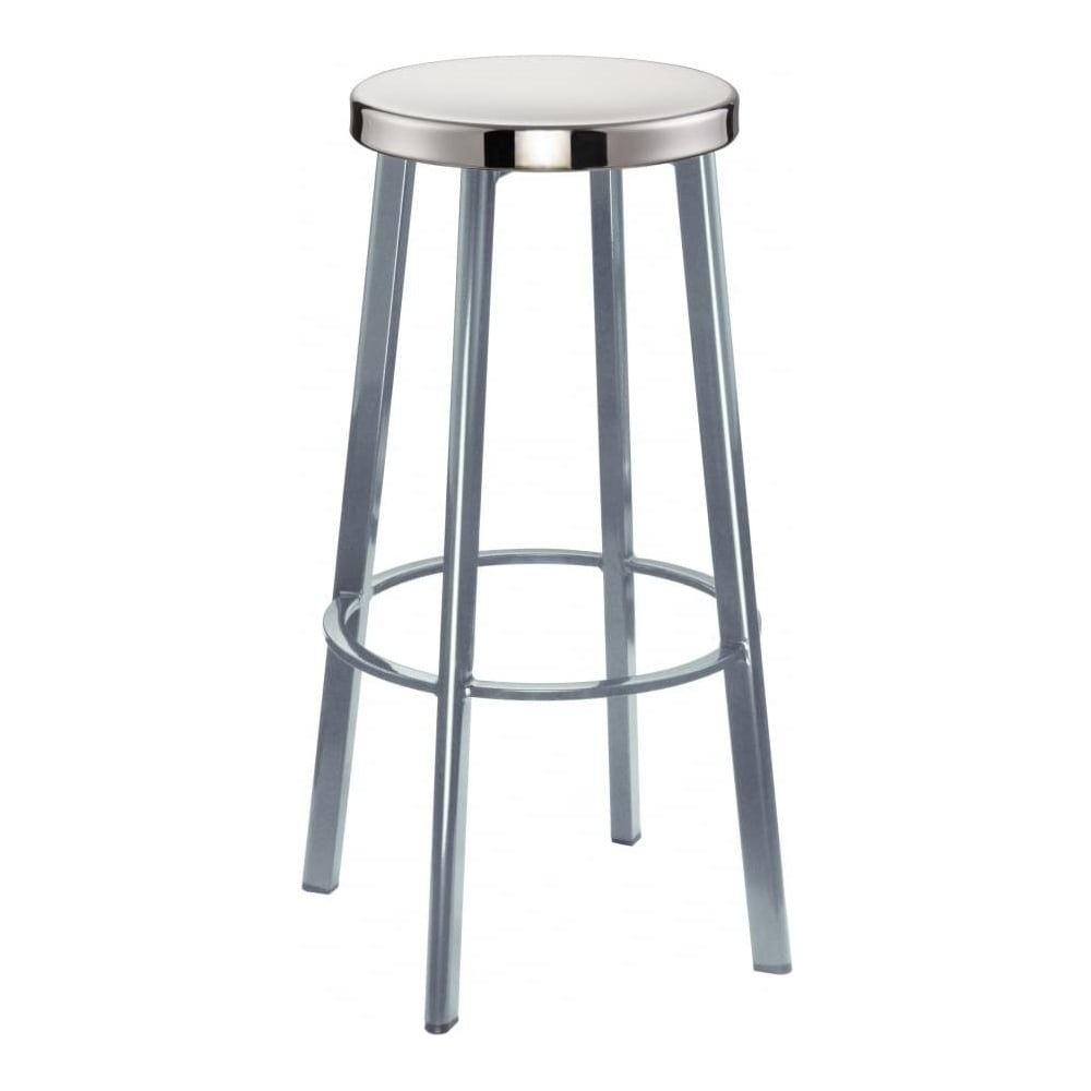 contemporary metal furniture. Light Grey Contemporary Metal Bar Stool With Circular Polished Steel Seat Furniture I