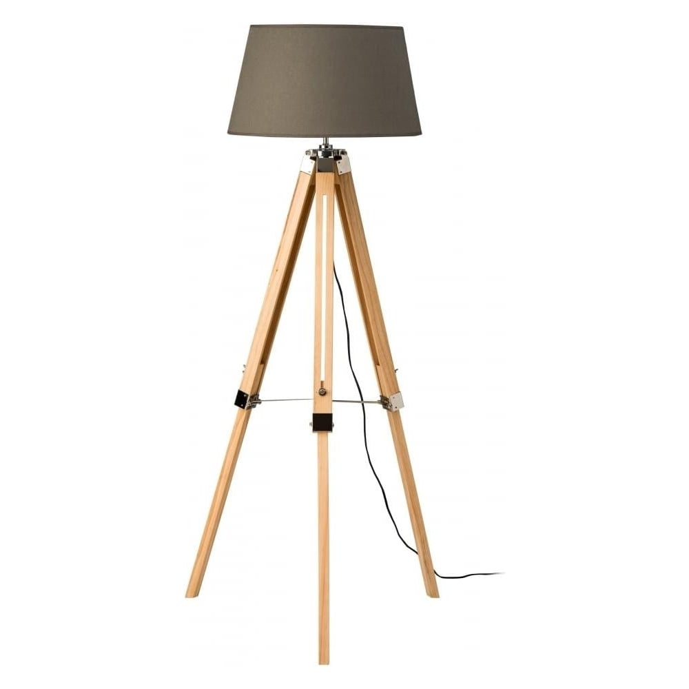 Buy light wood tripod floor lamp with grey shade from for Living lighting floor lamps