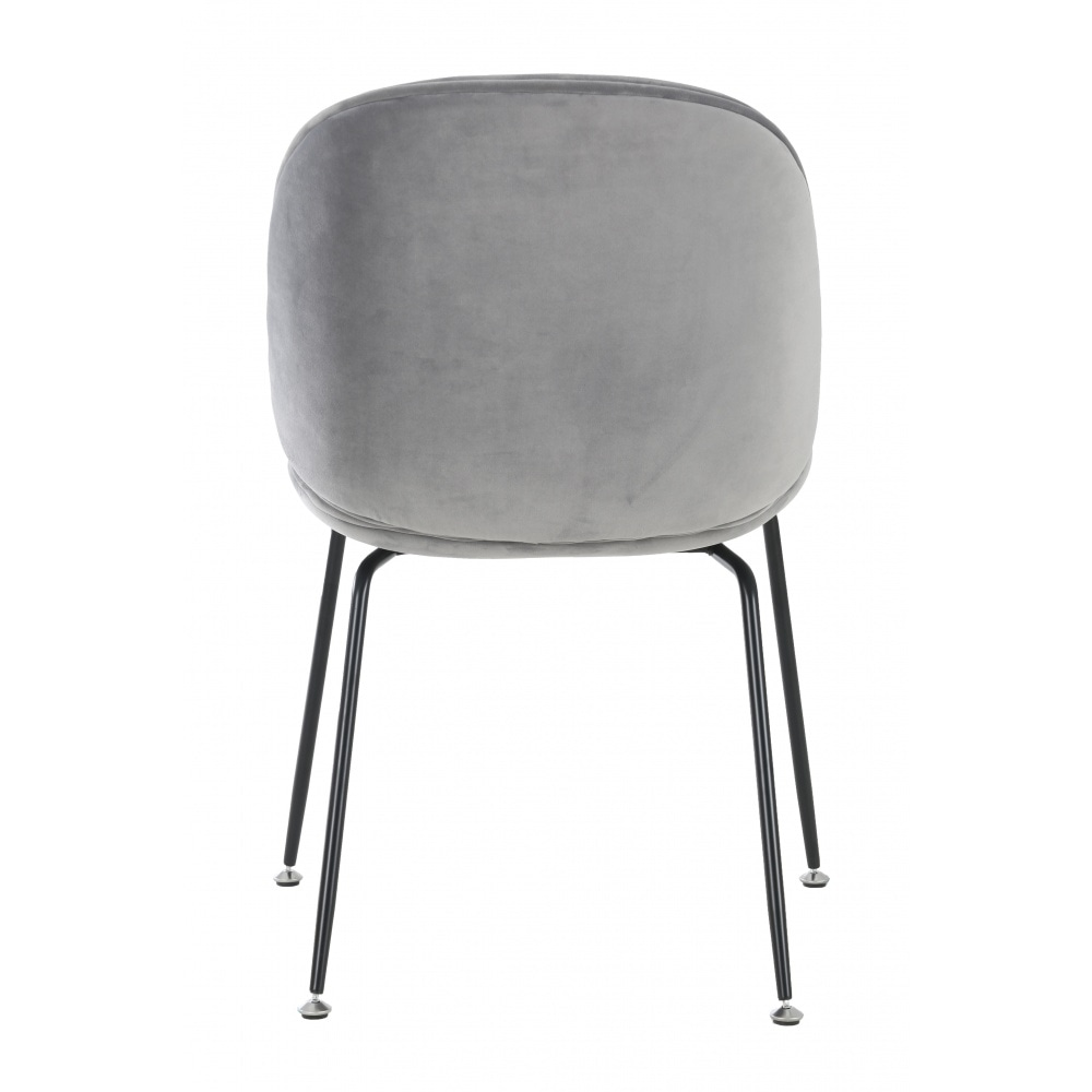 Luxurious Grey Velvet Dining Chair With Black Metal Legs From Fusion