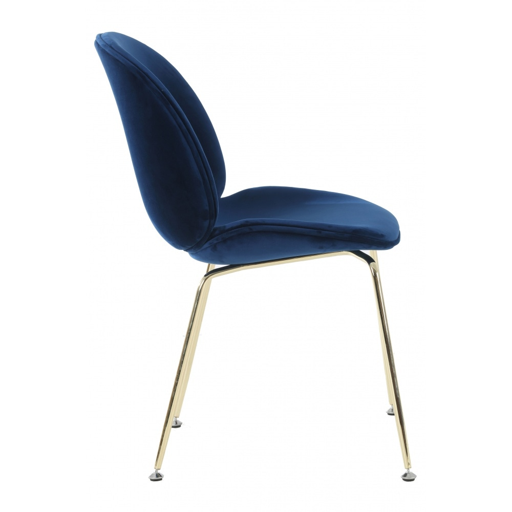 Stupendous Luxurious Navy Velvet Dining Chair With Gold Metal Legs Forskolin Free Trial Chair Design Images Forskolin Free Trialorg
