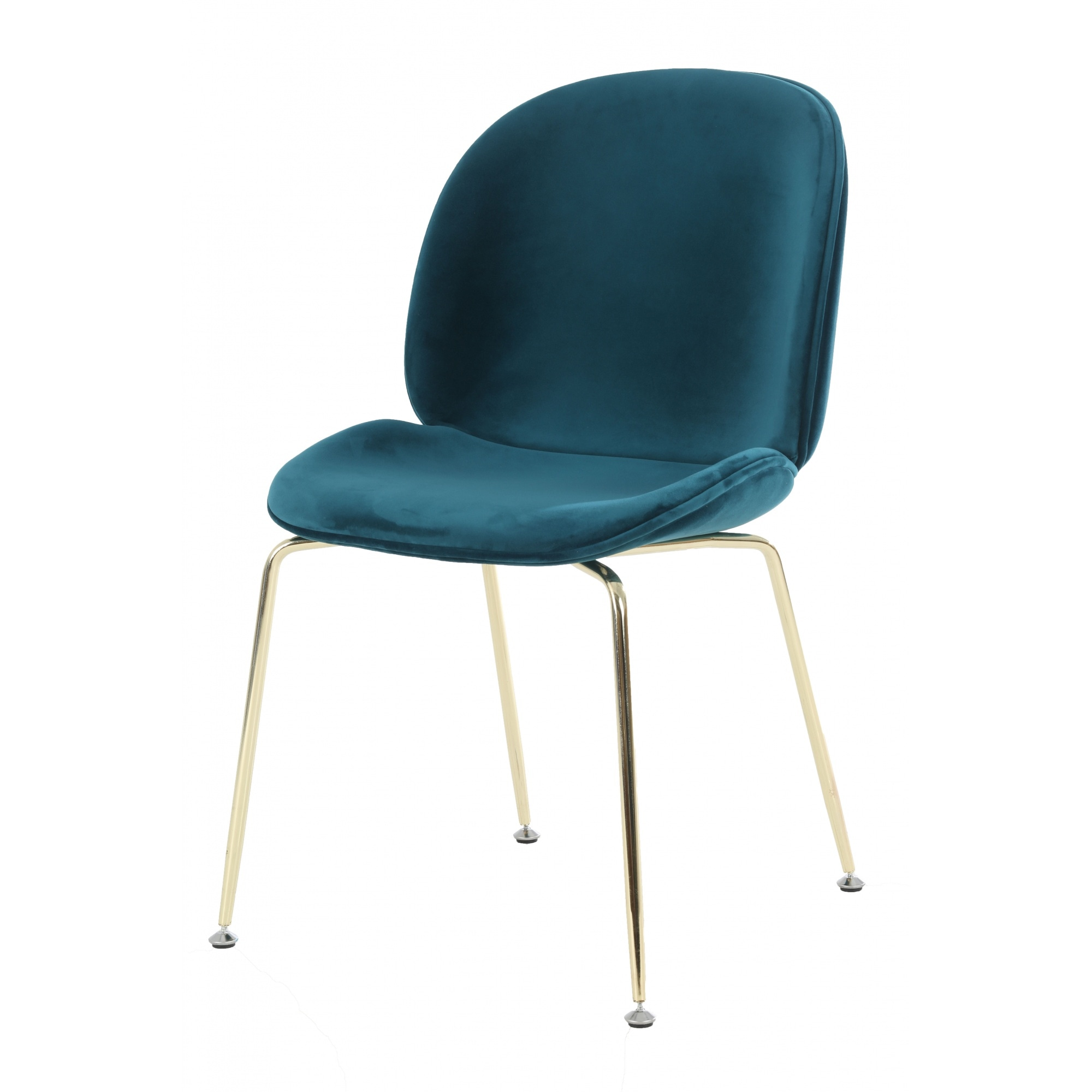 Luxurious Teal Velvet Dining Chair With Gold Metal Legs From Fusion