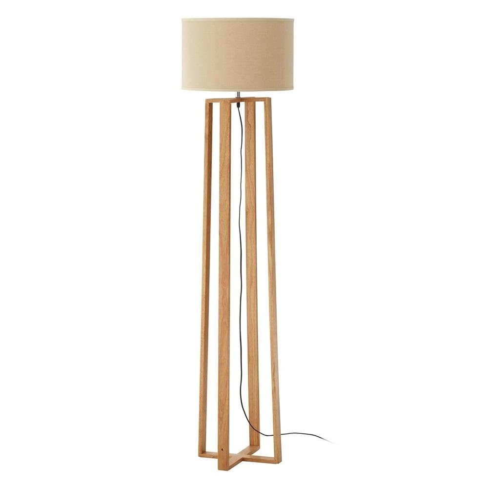 Natural Wood Floor Lamp With Natural Shade At Fusion Living Online