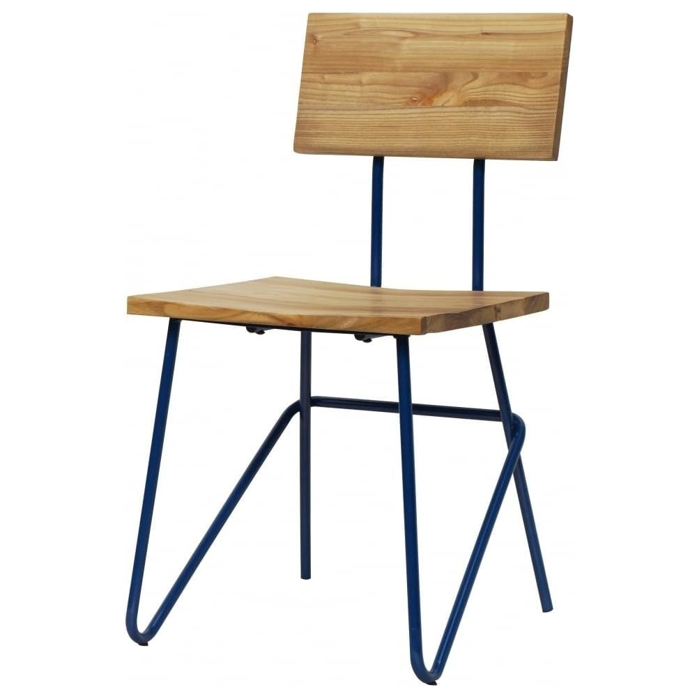 Navy Blue Industrial Metal Chair With Light Wood Seat