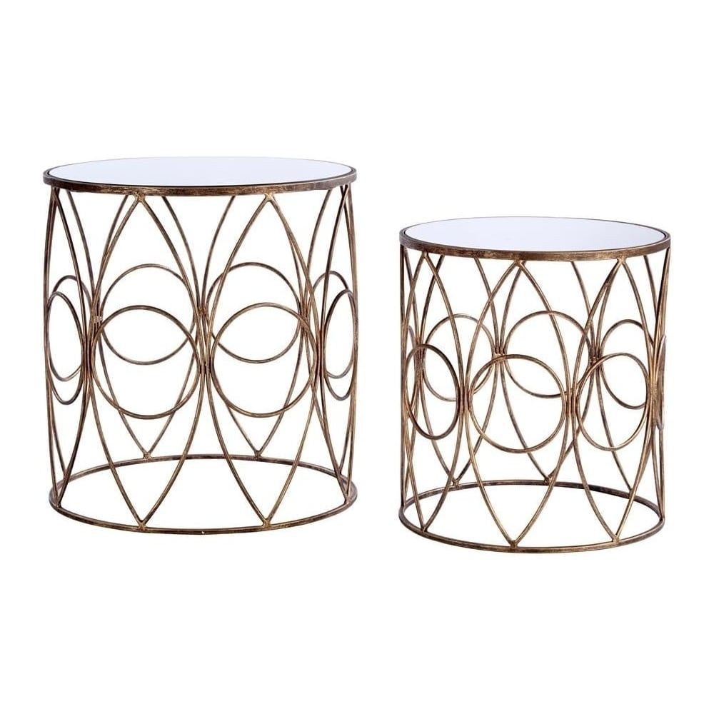 pretty nice 21b6b e6545 Nest of Mirrored Top Side Tables with Antiqued Gold Frame