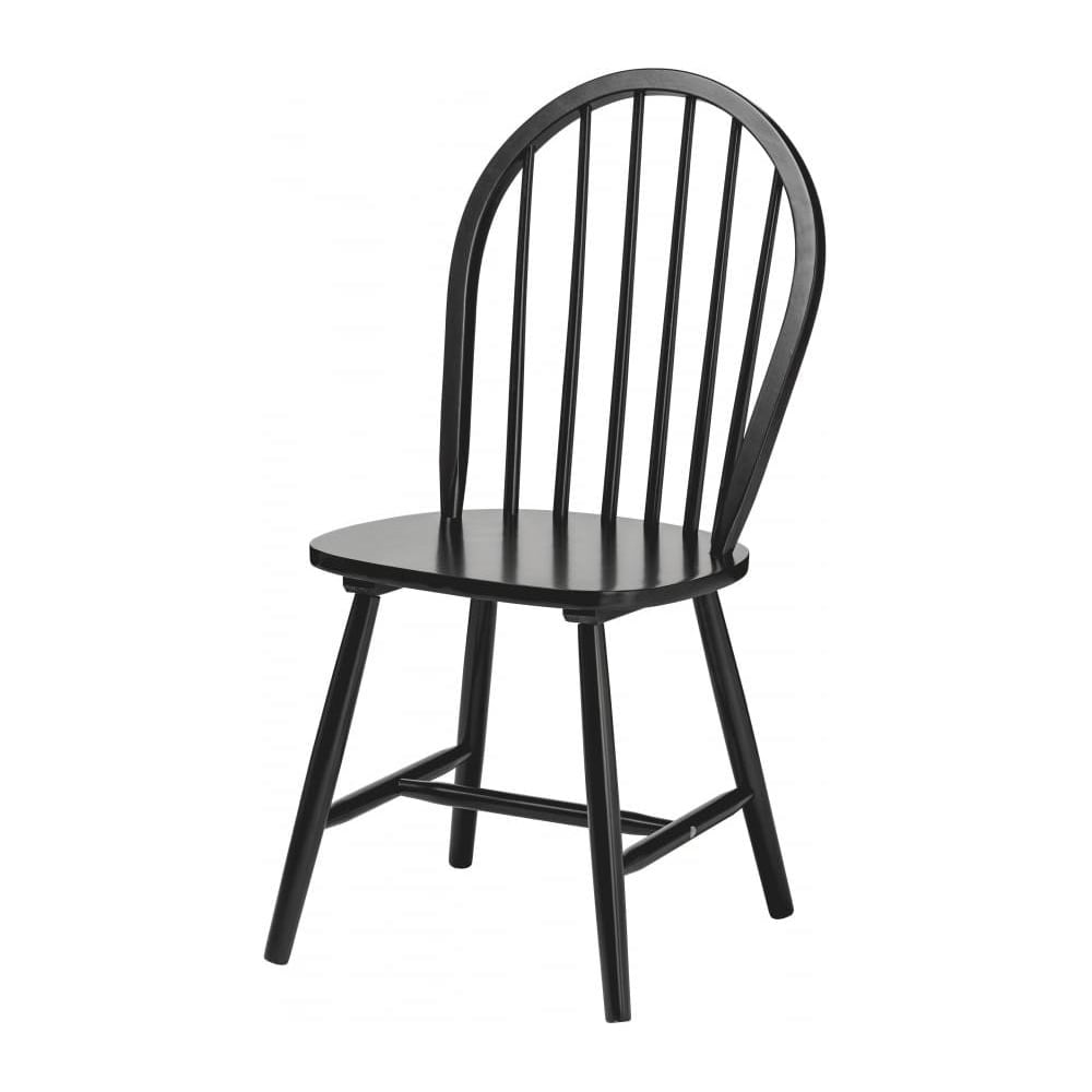 Fusion Living New England Style Matt Black Wood Dining Chair