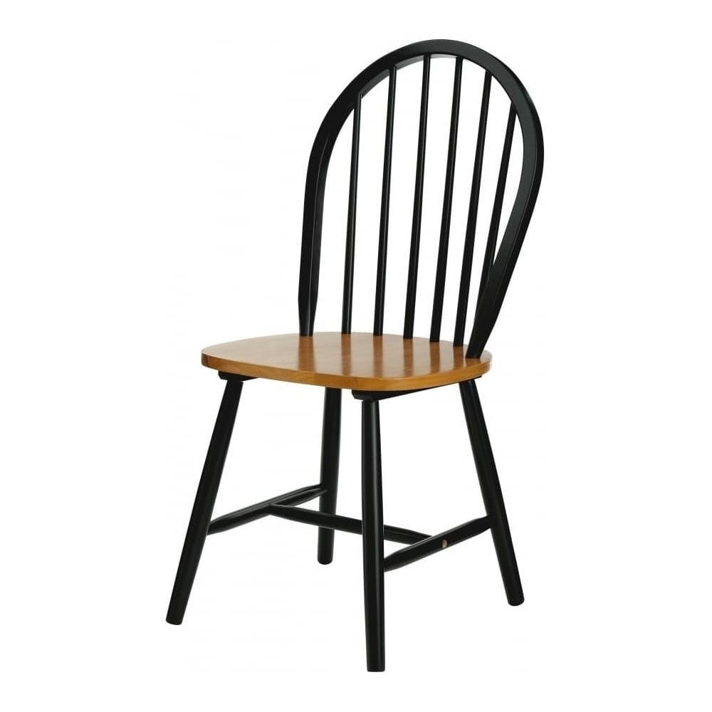 Tremendous Fusion Living New England Style Oak And Matt Black Wood Dining Chair Cjindustries Chair Design For Home Cjindustriesco