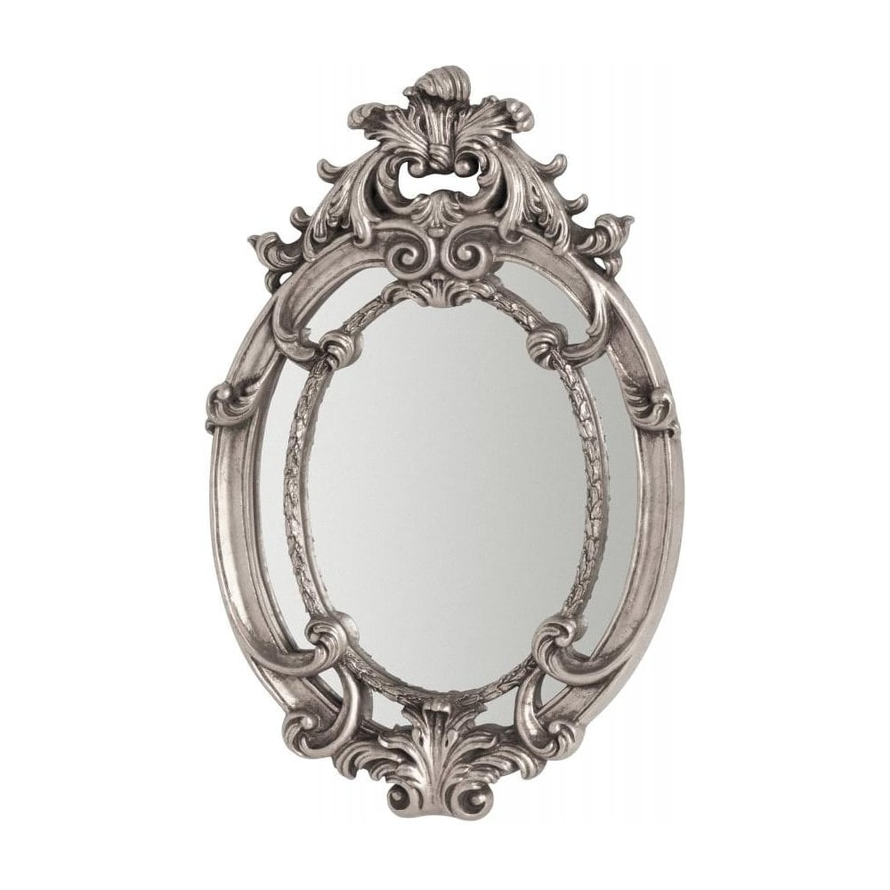 Buy oval vintage style silver wall mirror from fusion living for Small silver mirror