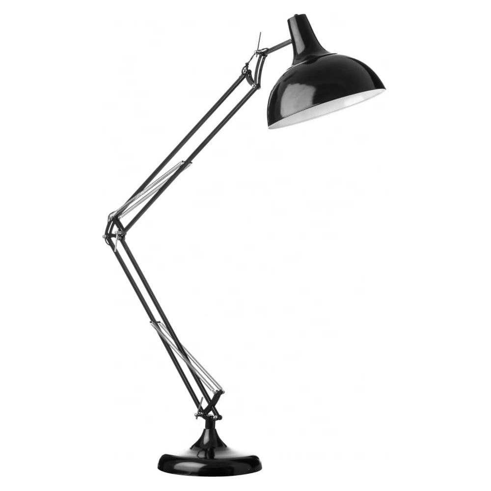 Oversized black metal adjustable industrial floor lamp