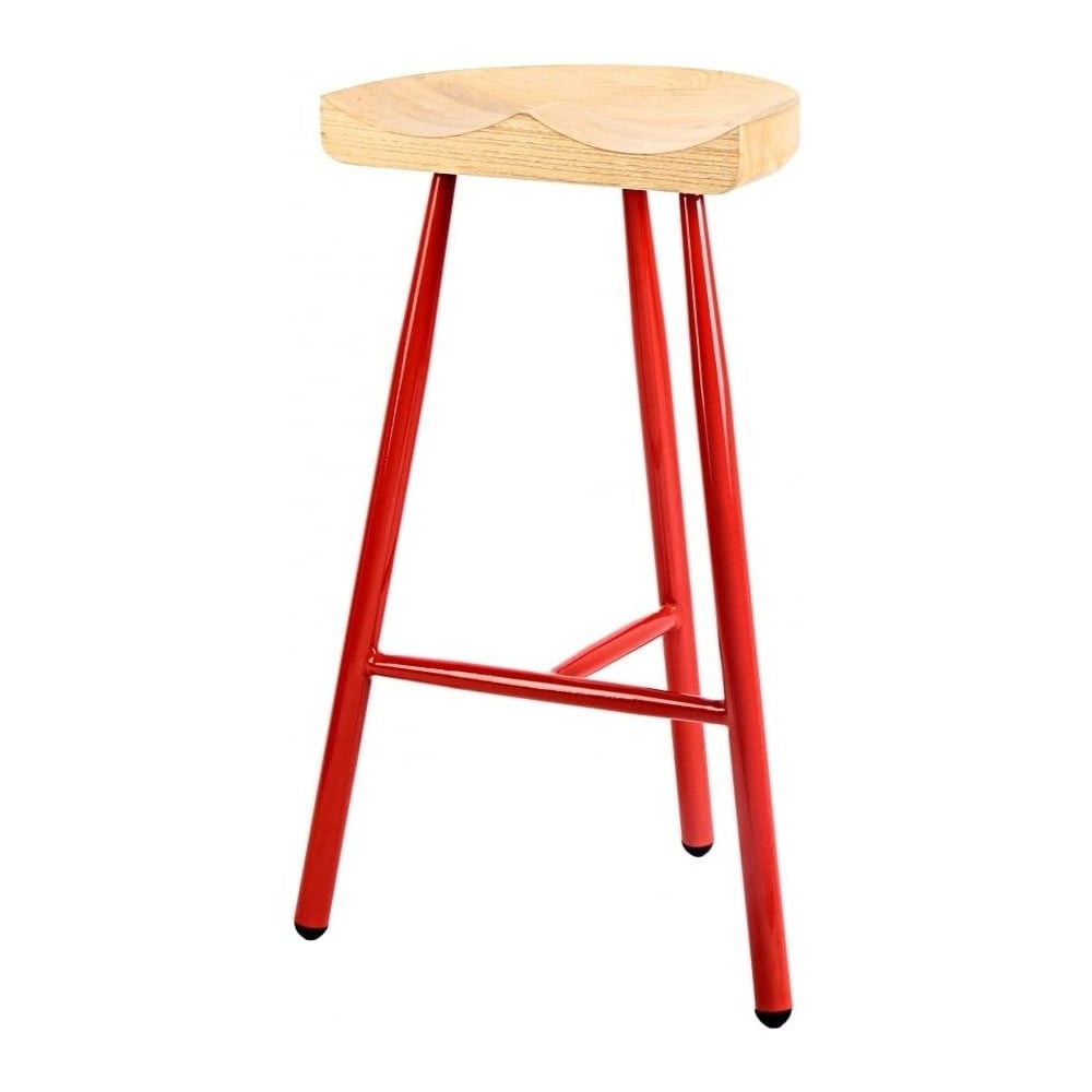 Buy Red 3 Leg Metal Bar Stool With Solid Light Wood Seat