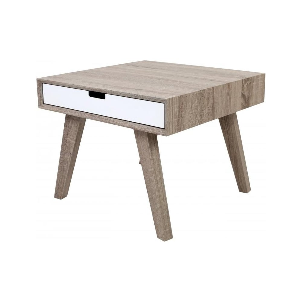 Buy retro style wood and white veneer side table from for Retro side table