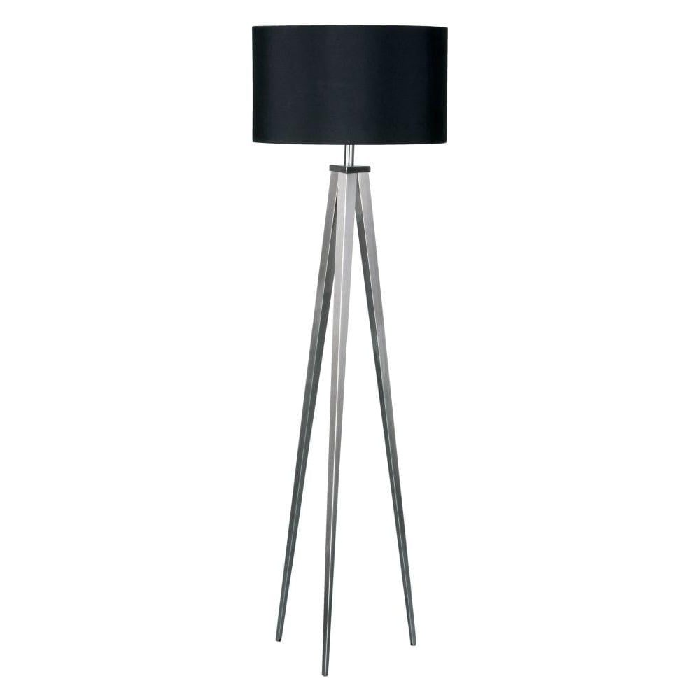 Buy satin nickel floor standing lamp buy large tripod floor lamp satin nickel large tripod floor lamp with black shade mozeypictures Gallery