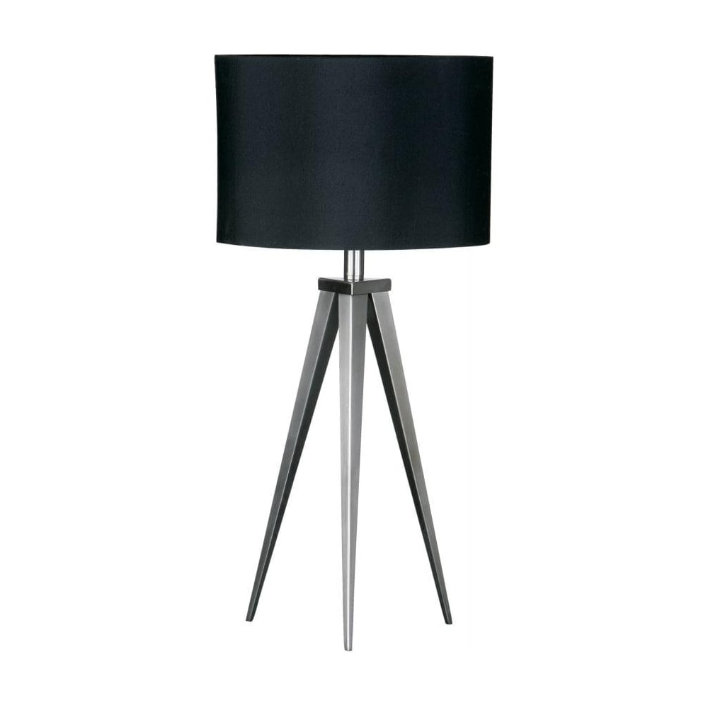 Buy satin nickel table top lamp buy tripod style table lighting satin nickel small tripod table lamp with black shade mozeypictures Gallery