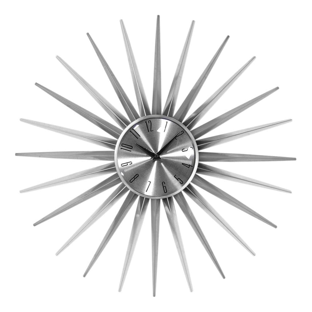Buy Silver Retro Sunburst Clock Buy This Retro Style