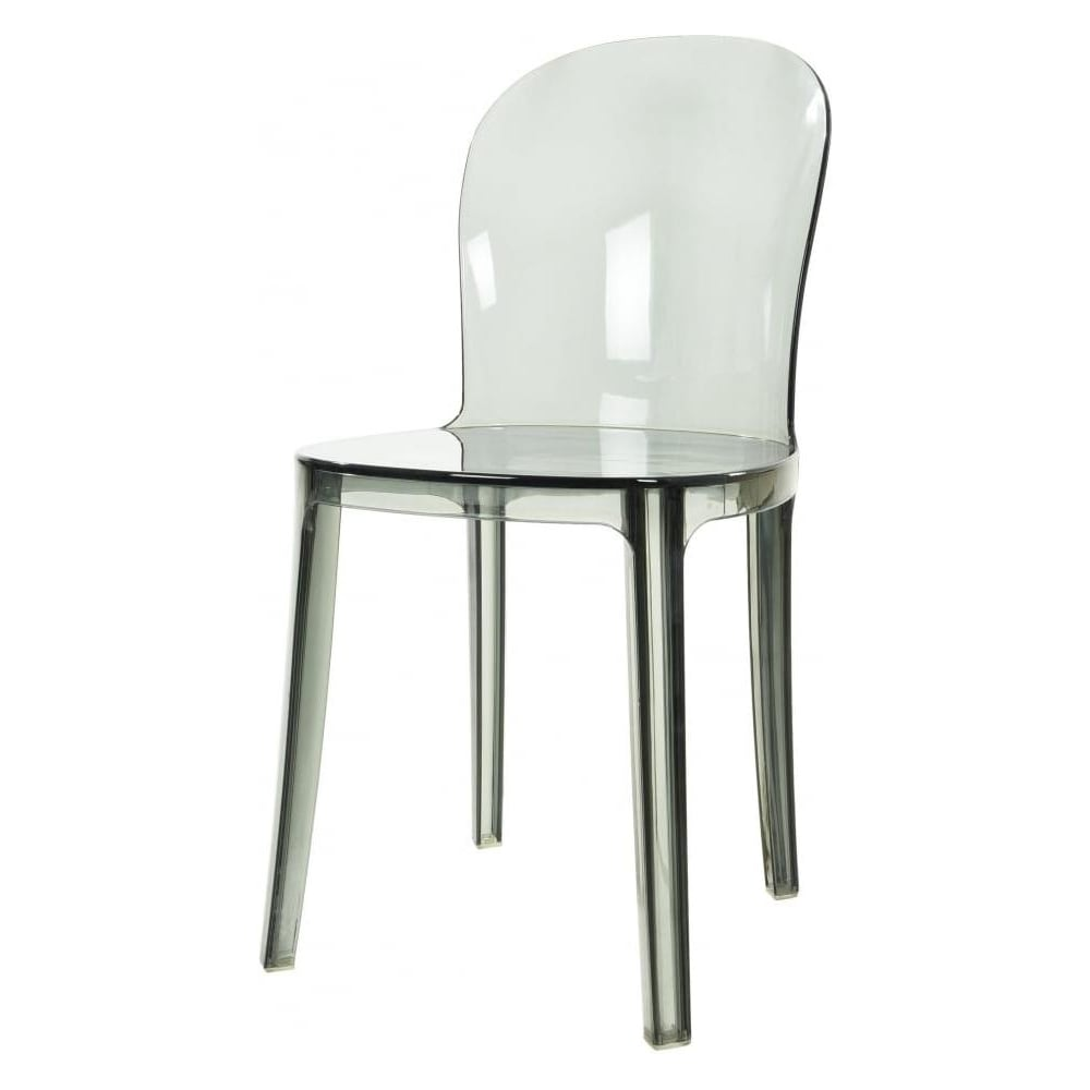 Smoke Grey Ghost Style Plastic Contemporary Dining Chair