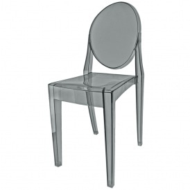 Smoke Grey Ghost Style Plastic Victoria Dining Chair