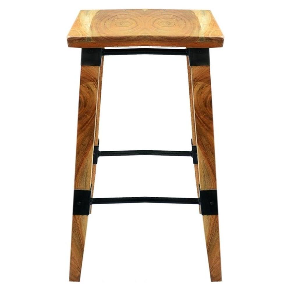 Solid wood and metal rustic bar stool