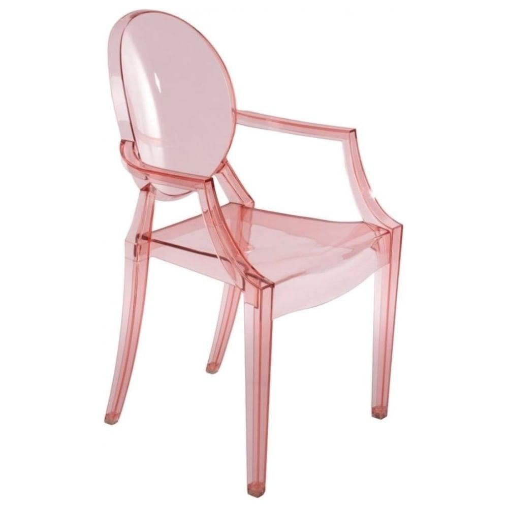 Merveilleux Transparent Pink Ghost Style Plastic Louis Armchair