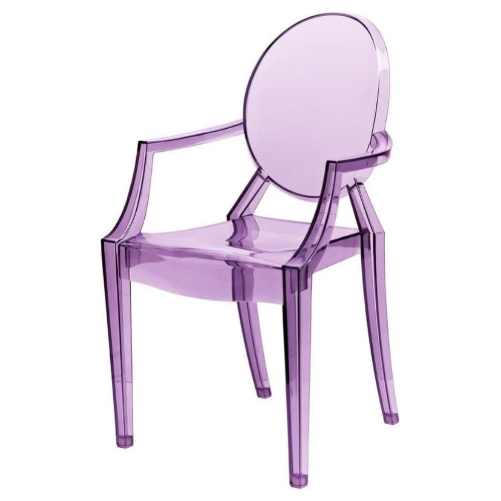 Superbe Transparent Purple Ghost Style Plastic Louis Armchair