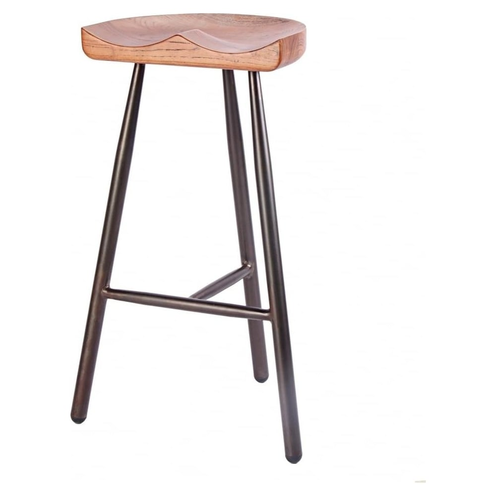vintage brown 3 leg metal bar stool with solid dark wood seat