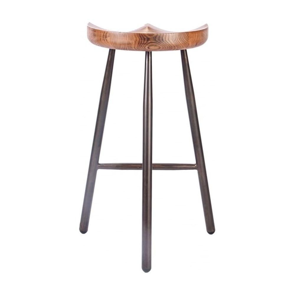 Vintage Brown 3 Leg Metal Bar Stool With Solid Dark Wood Seat