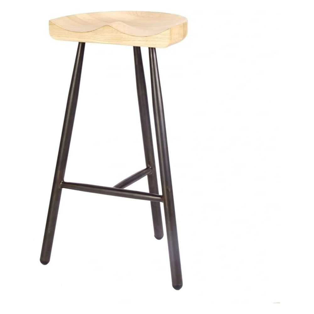 buy vintage brown 3 leg metal bar stool with solid light wood seat. Black Bedroom Furniture Sets. Home Design Ideas