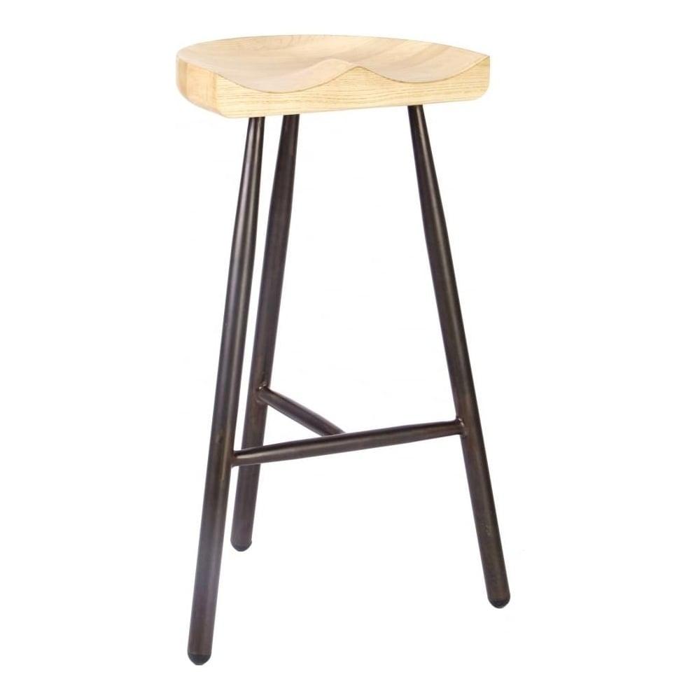 Vintage Brown 3 Leg Metal Bar Stool With Solid Light Wood Seat