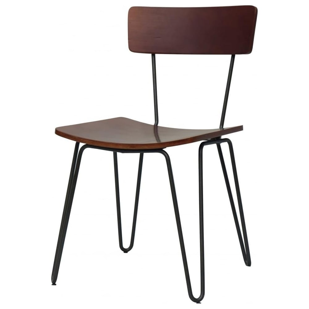 Buy Grey Hairpin Metal Chair With Light Wood Seat From