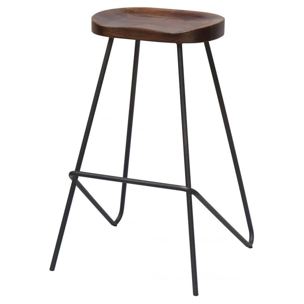 Buy Grey Industrial Metal Bar Stool With Wood Seat From Fusion Living