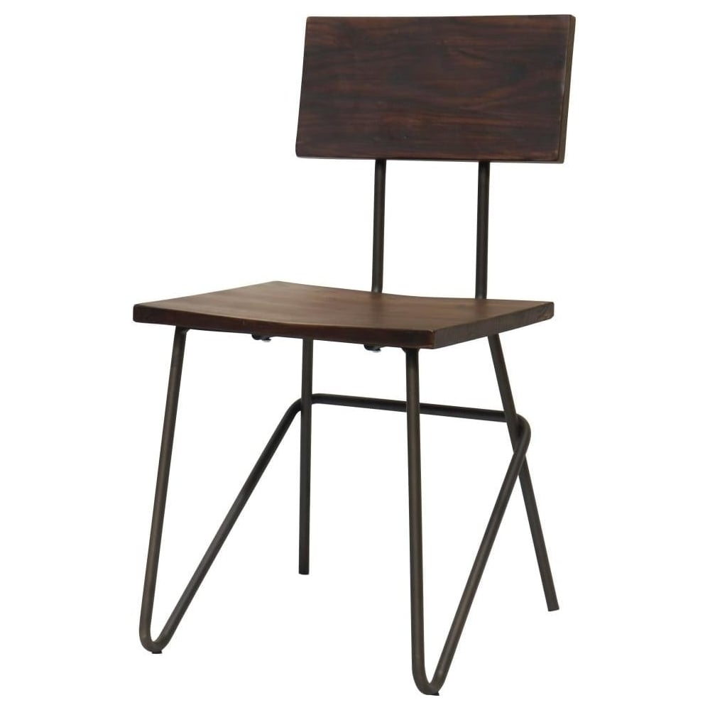 Vintage Graphite Industrial Metal Chair With Dark Wood Seat