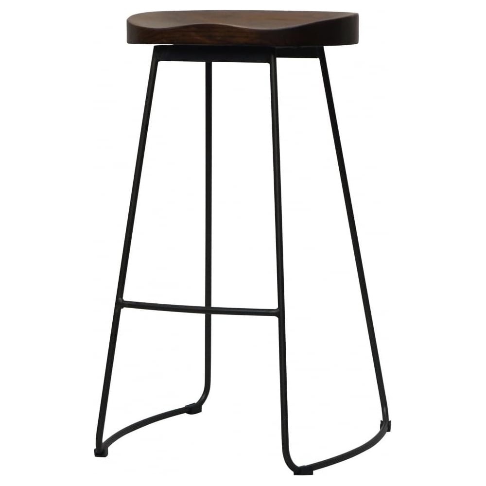 buy grey mid century metal bar stool with wood seat from fusion living. Black Bedroom Furniture Sets. Home Design Ideas