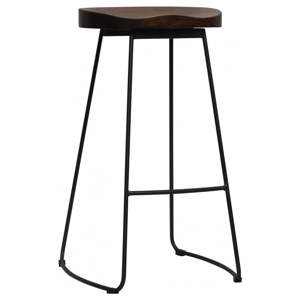 Swell Fusion Living Vintage Graphite Mid Century Metal Bar Stool With Dark Wood Seat Spiritservingveterans Wood Chair Design Ideas Spiritservingveteransorg
