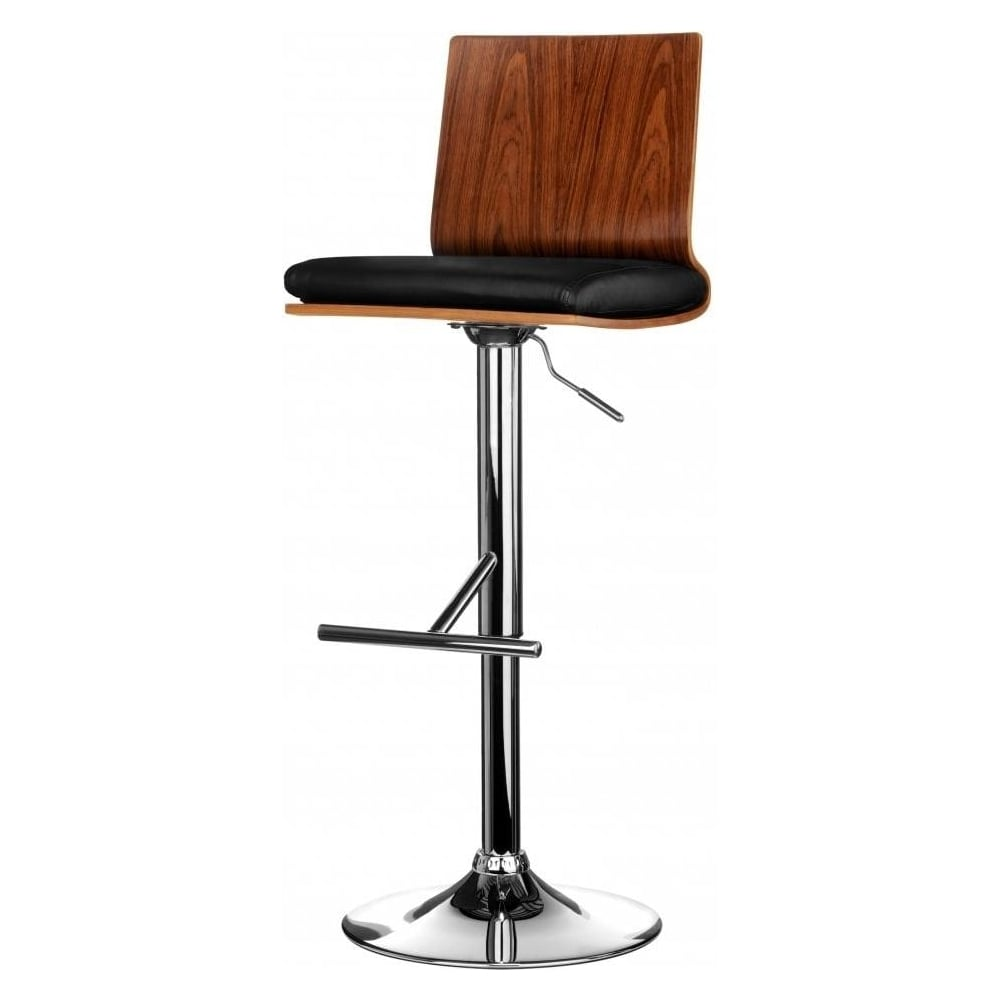 Buy Walnut And Black Faux Leather Bar Stool From Fusion Living