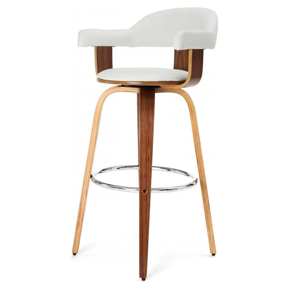 Walnut Veneer and White Faux Leather Swivel Bar Stool  sc 1 st  Fusion Living : faux leather bar stools - islam-shia.org