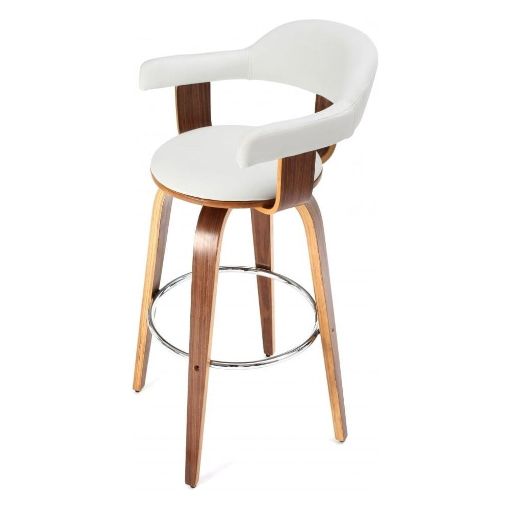 Walnut Veneer and White Faux Leather Swivel Bar Stool