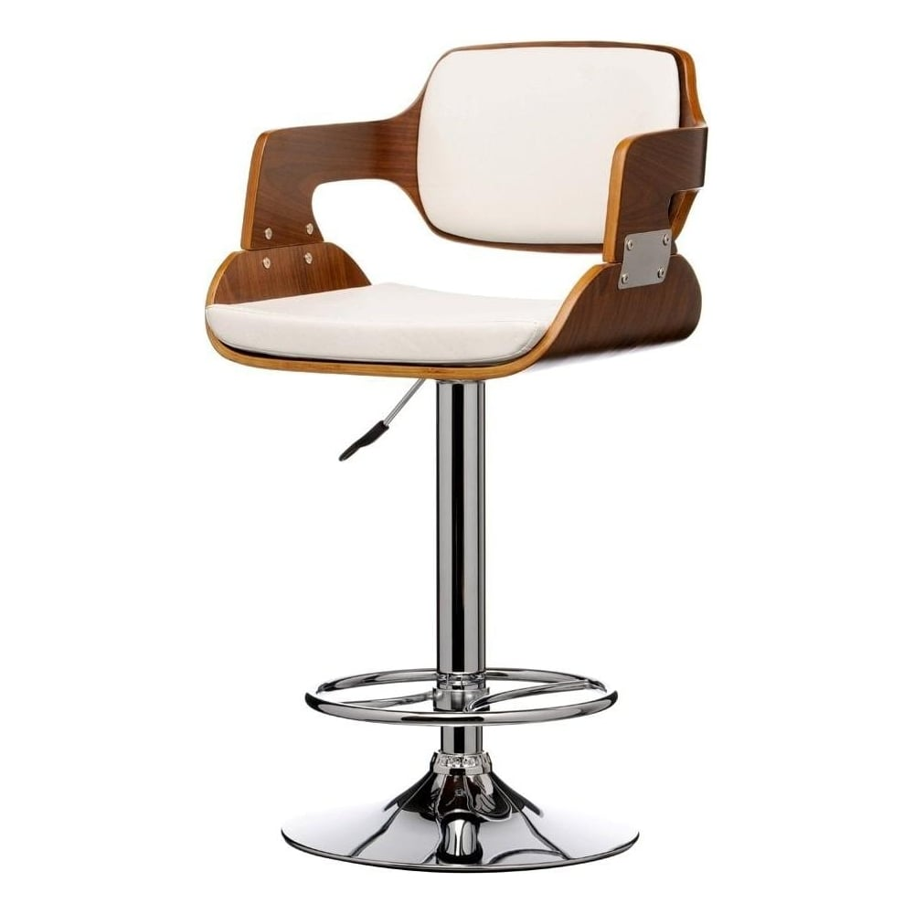 Buy Walnut Wood And White Faux Leather Retro Bar Stool