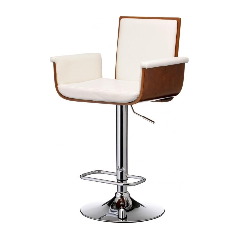 Buy Walnut Wood And White Faux Leather Tall Bar Stool