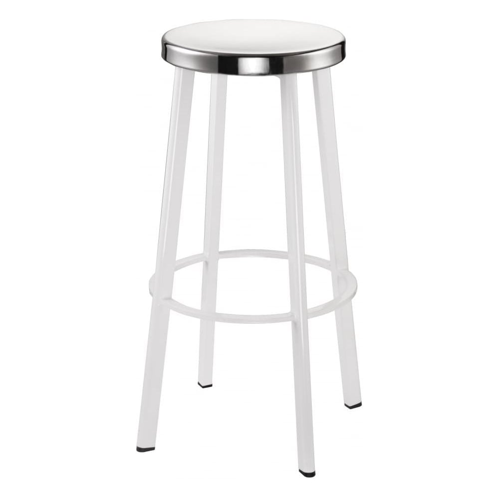 Buy White Contemporary Metal Bar Stool With Circular Steel Seat