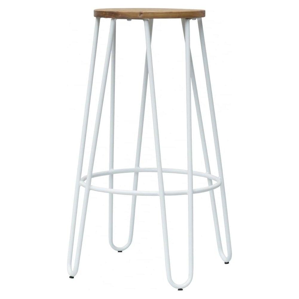 Buy White Hairpin Metal Bar Stool With Round Seat At