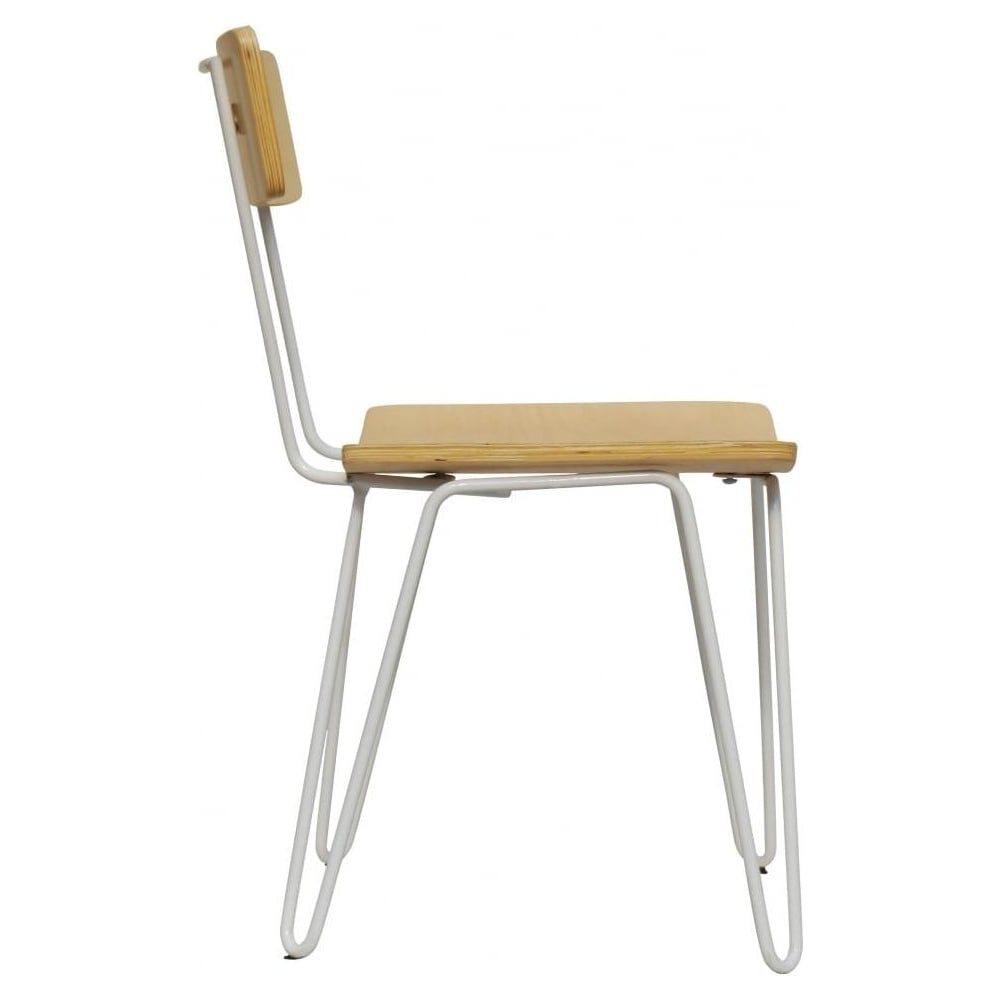 White Hairpin Metal Chair With Light Wood Seat