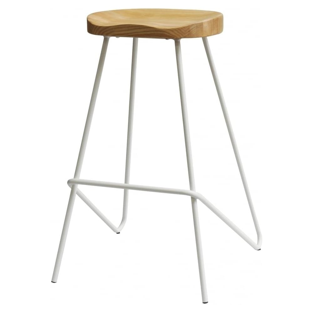 Brilliant Fusion Living White Industrial Metal Bar Stool With Light Wood Seat Uwap Interior Chair Design Uwaporg
