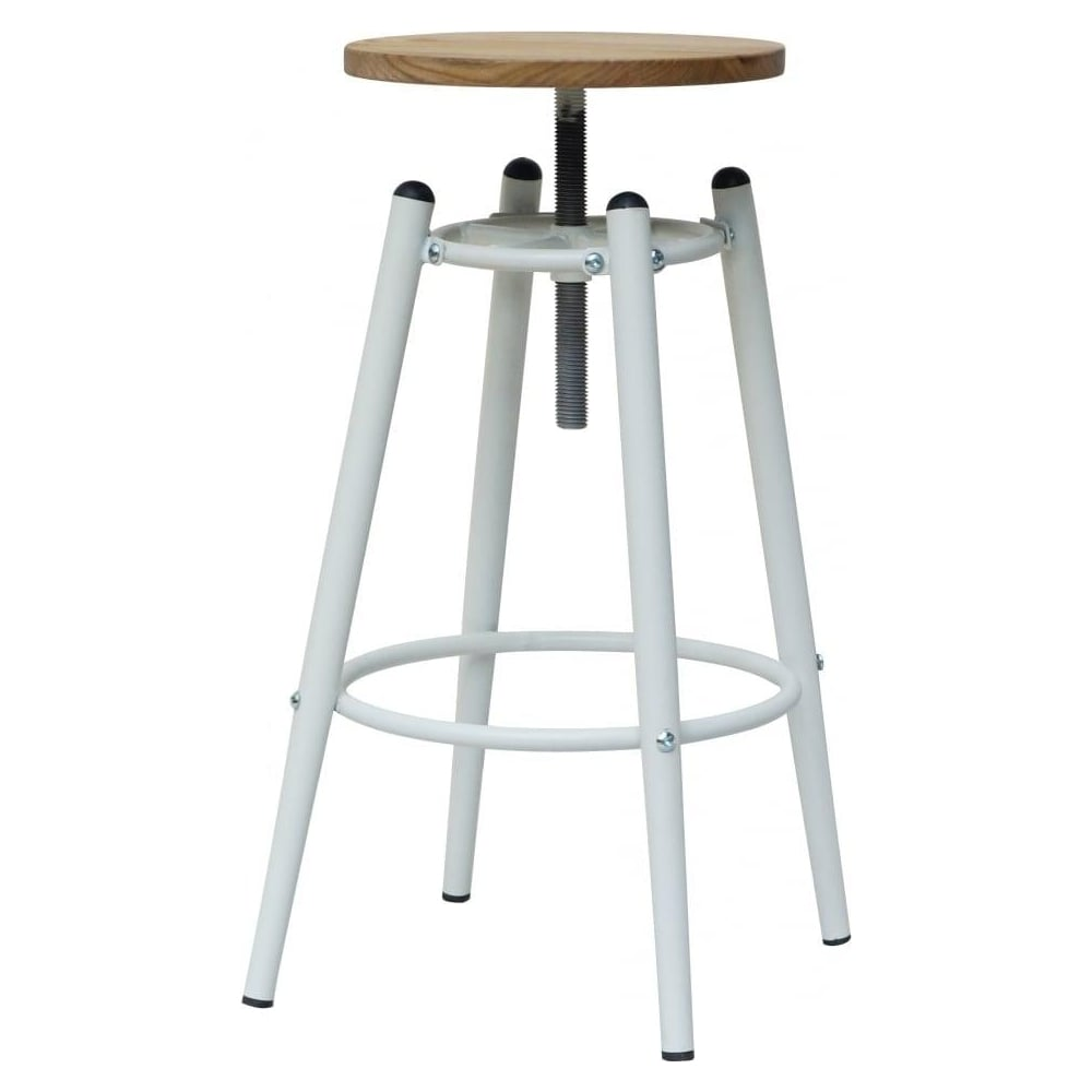 Ordinaire White Industrial Screw Top Bar Stool With Solid Wood Seat