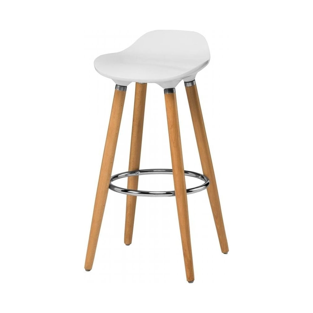 Buy white plastic bar stool with beech wood legs from