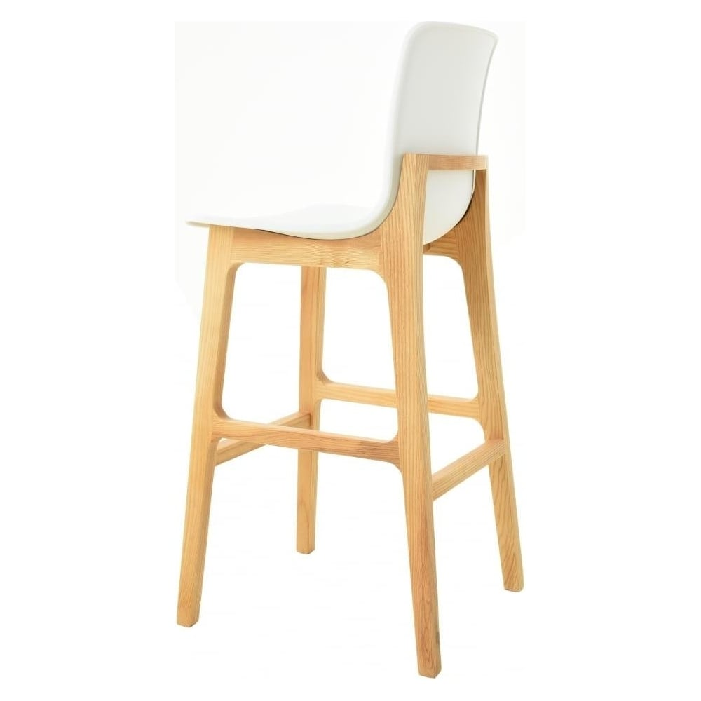 Magnificent Fusion Living White Plastic Contemporary Bar Stool With Light Wood Legs Uwap Interior Chair Design Uwaporg