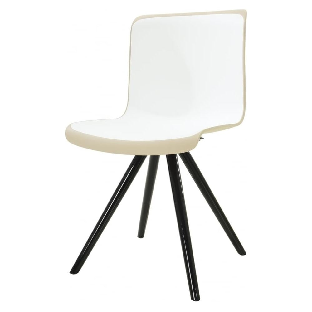 White And Cream Plastic Contemporary Dining Chair From