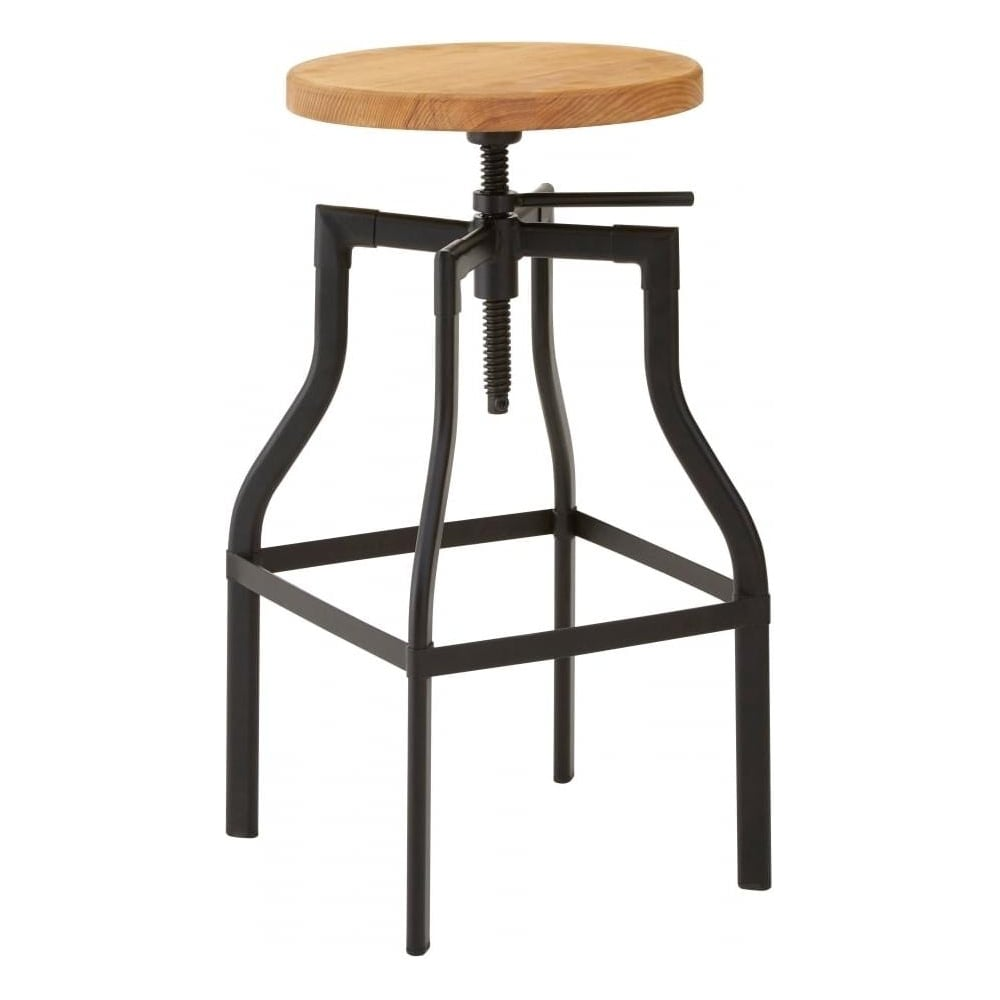 Wood And Metal Foundry Screw Top Bar Stool